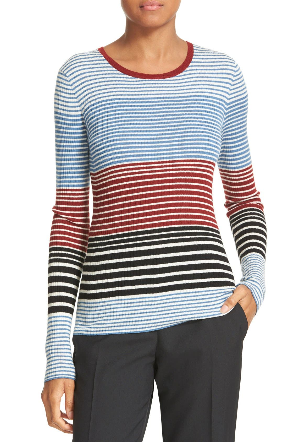 Alternate Image 1 Selected - Theory Mirzi Stripe Rib Knit Merino Sweater