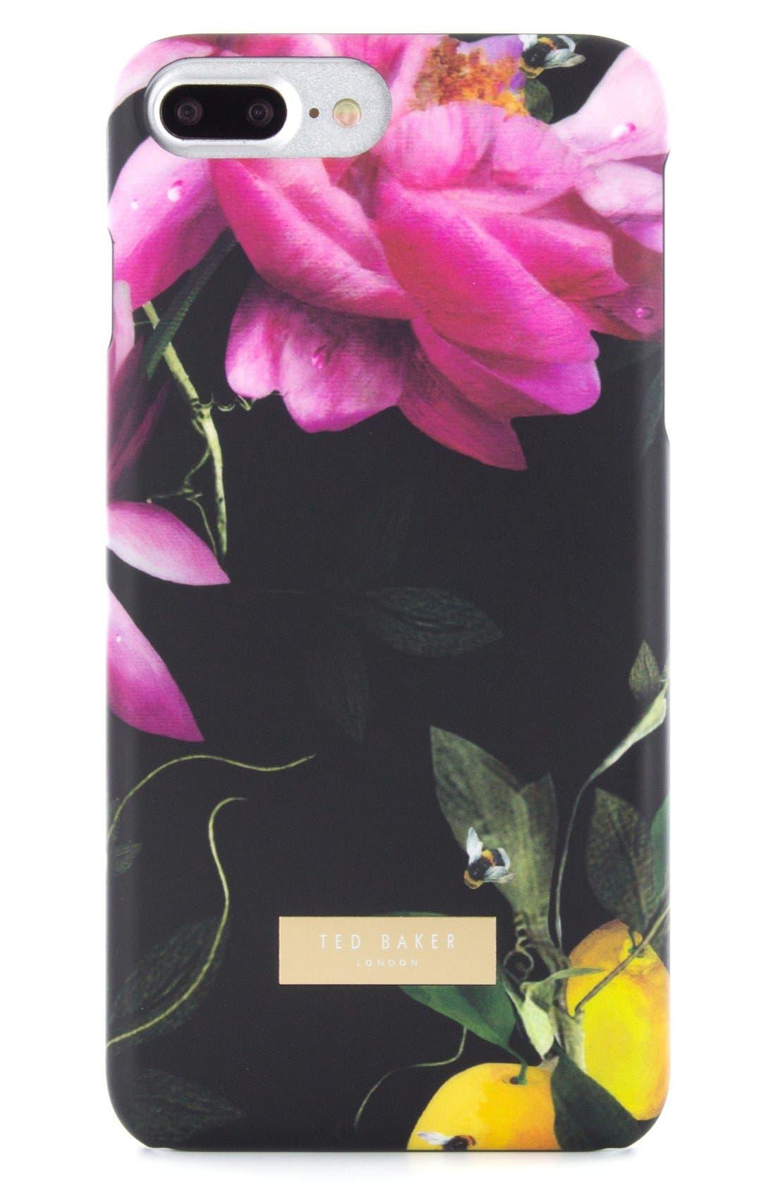 Citrus Bloom iPhone 6/6s/7/8 & 6/6s/7/8 Plus Case,                             Main thumbnail 1, color,                             Black