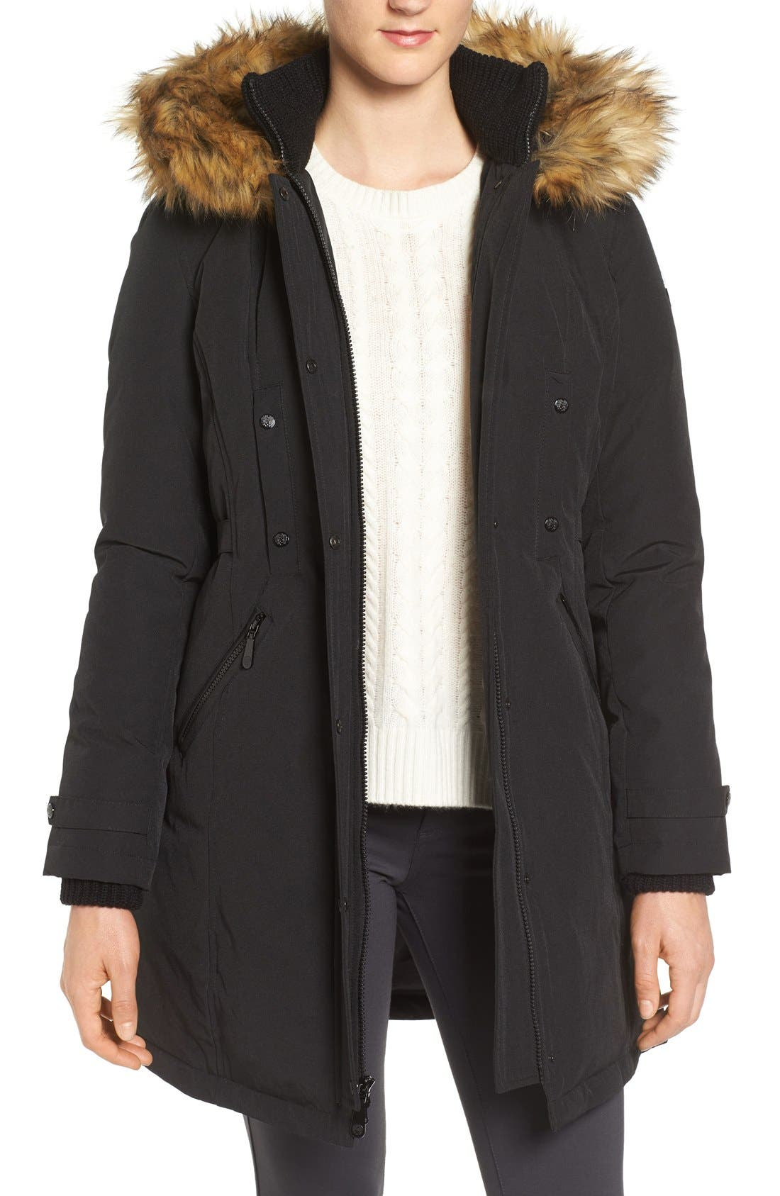 Alternate Image 1 Selected - Vince Camuto Faux Fur Trim Down & Feather Fill Parka