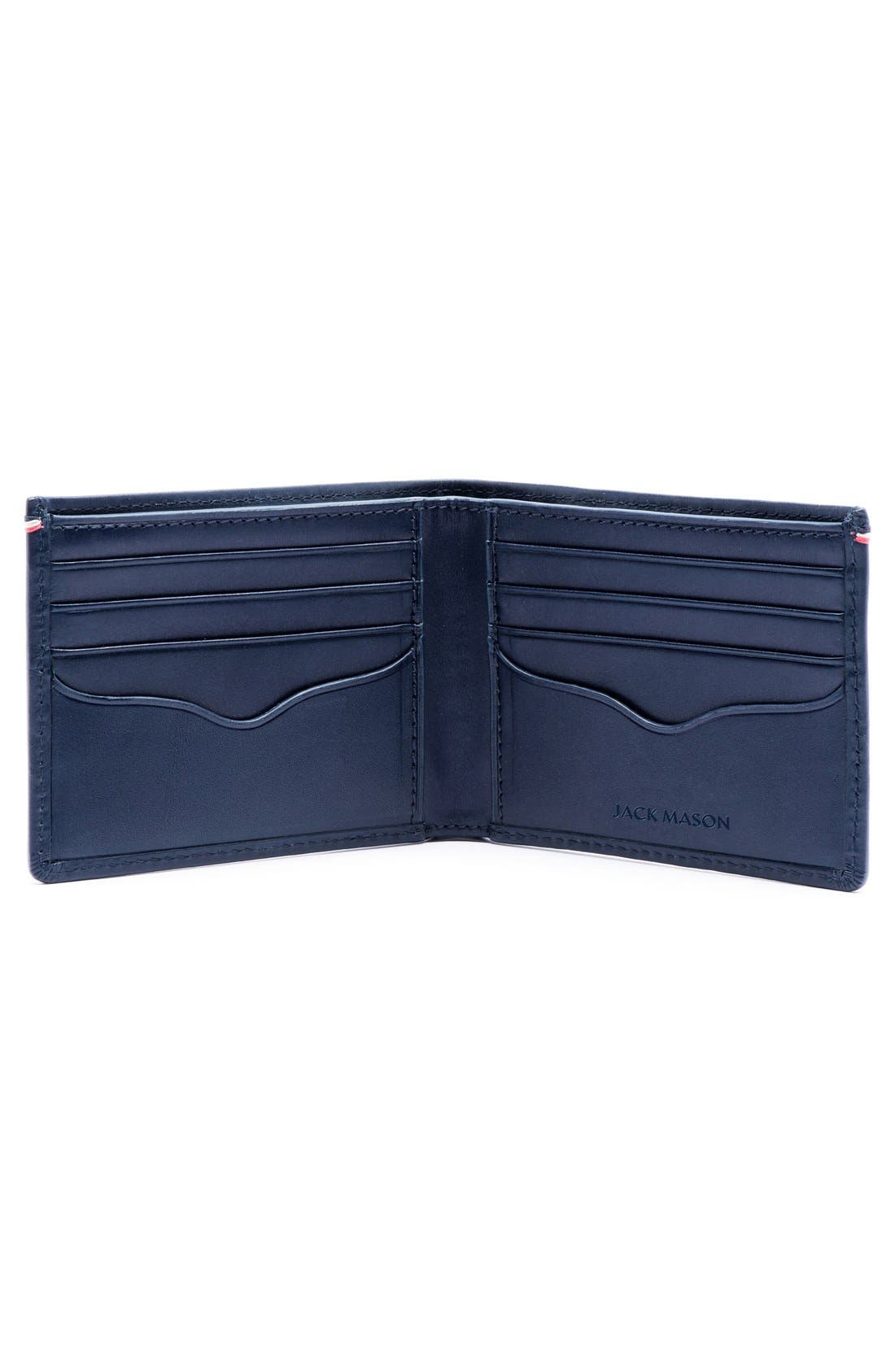 Star Leather Bifold Wallet,                             Alternate thumbnail 2, color,                             Navy
