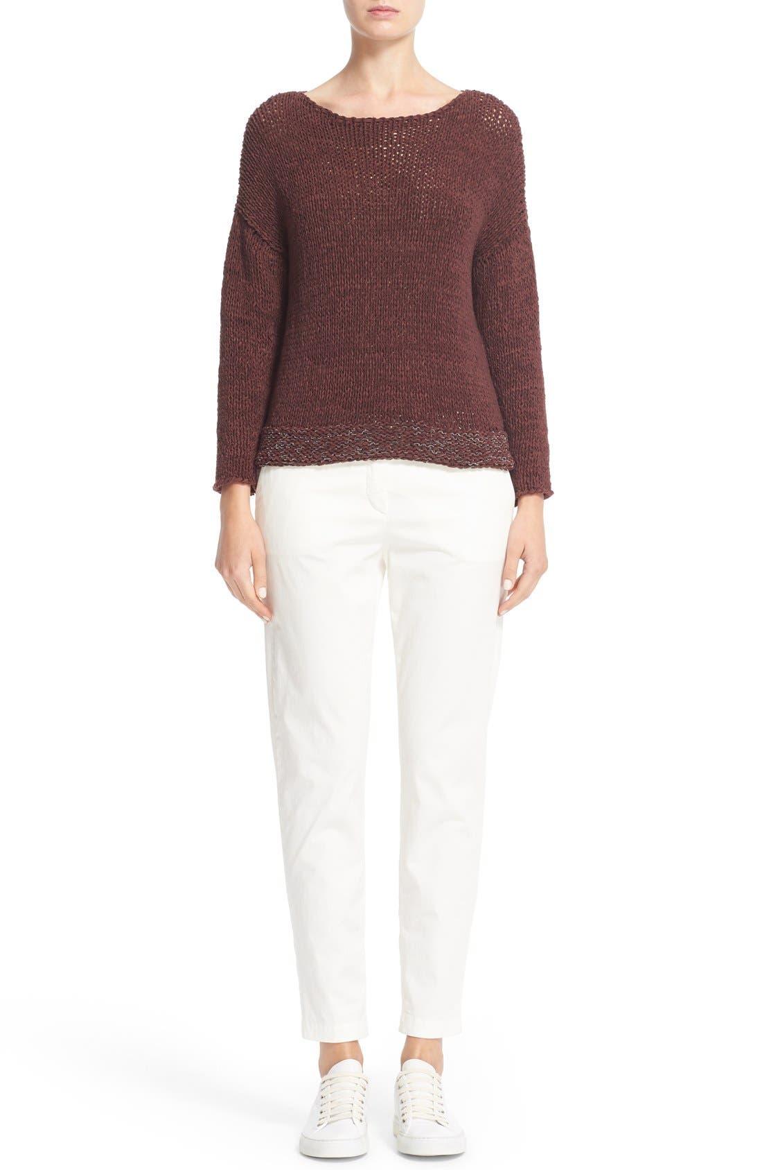 Alternate Image 7  - Fabiana Filippi Mollini Trim Cotton Blend Sweater