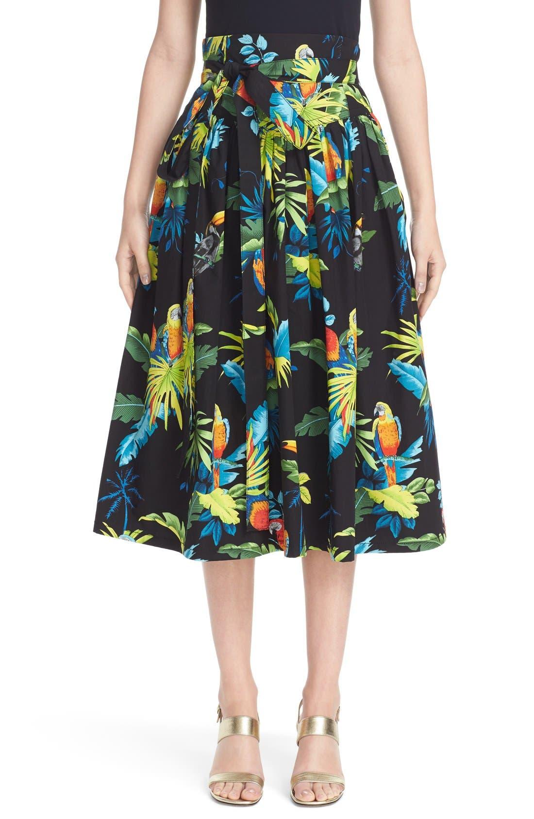 Alternate Image 1 Selected - MARC JACOBS Parrot Print Cotton Poplin Full Skirt
