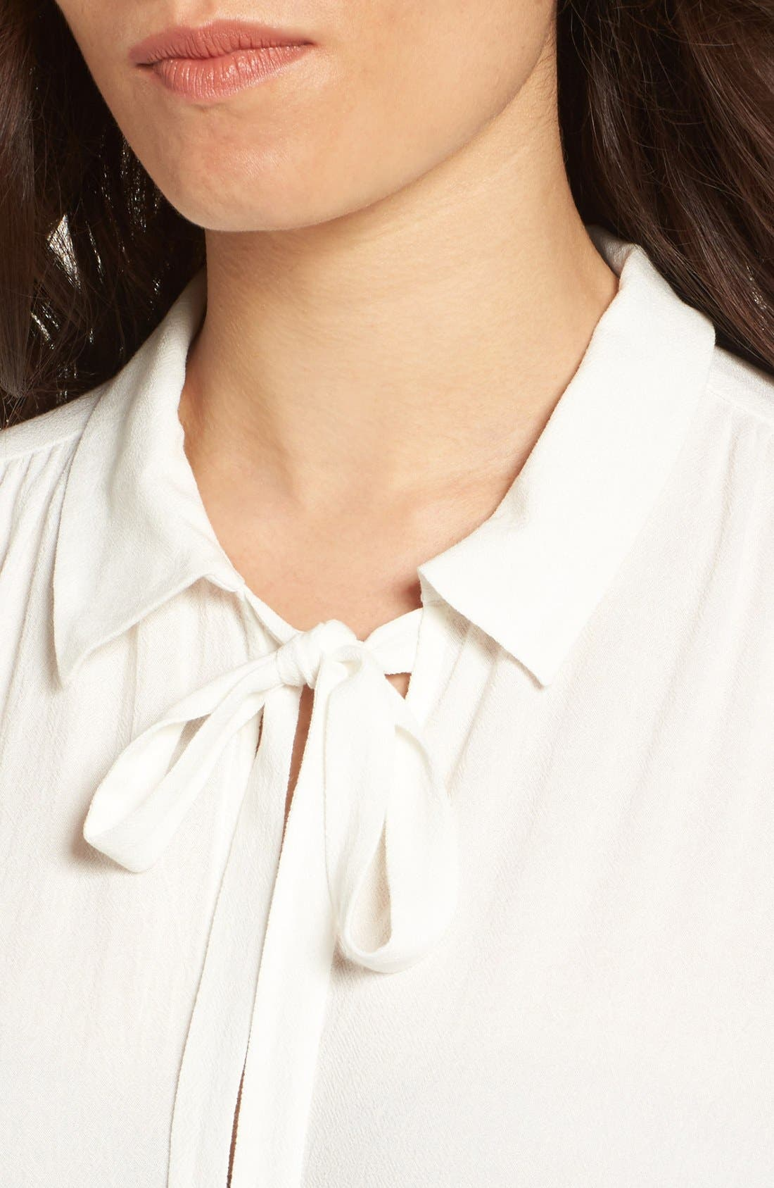 Tie Neck Blouse,                             Alternate thumbnail 5, color,                             Ivory
