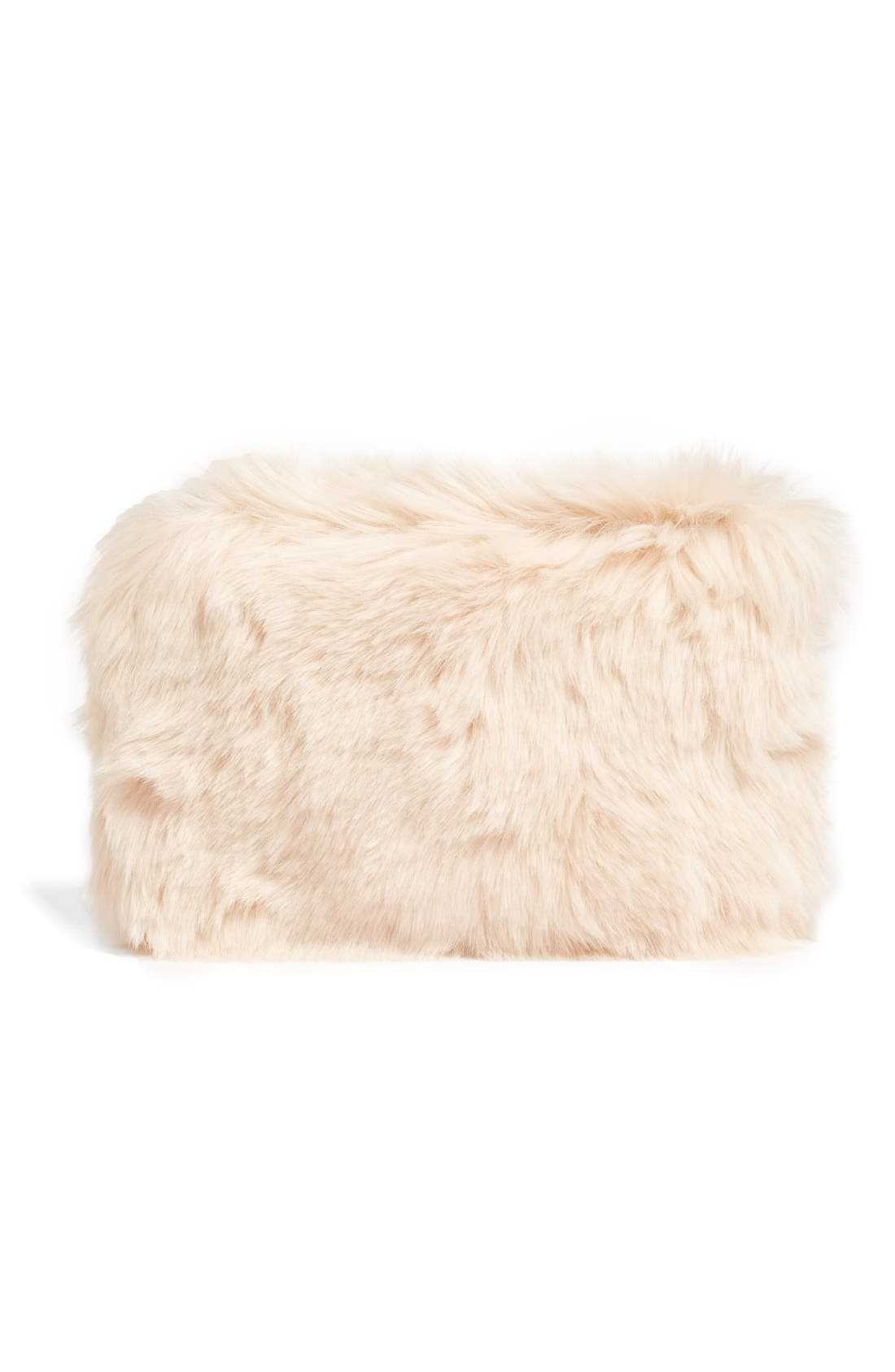Cuddle Up Faux Fur Pouch,                             Alternate thumbnail 3, color,                             Pink Peony