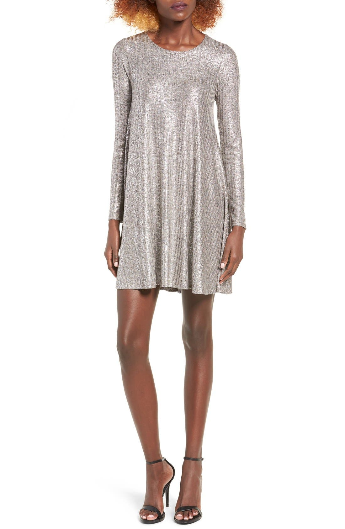 Shine Swing Dress,                         Main,                         color, Silver