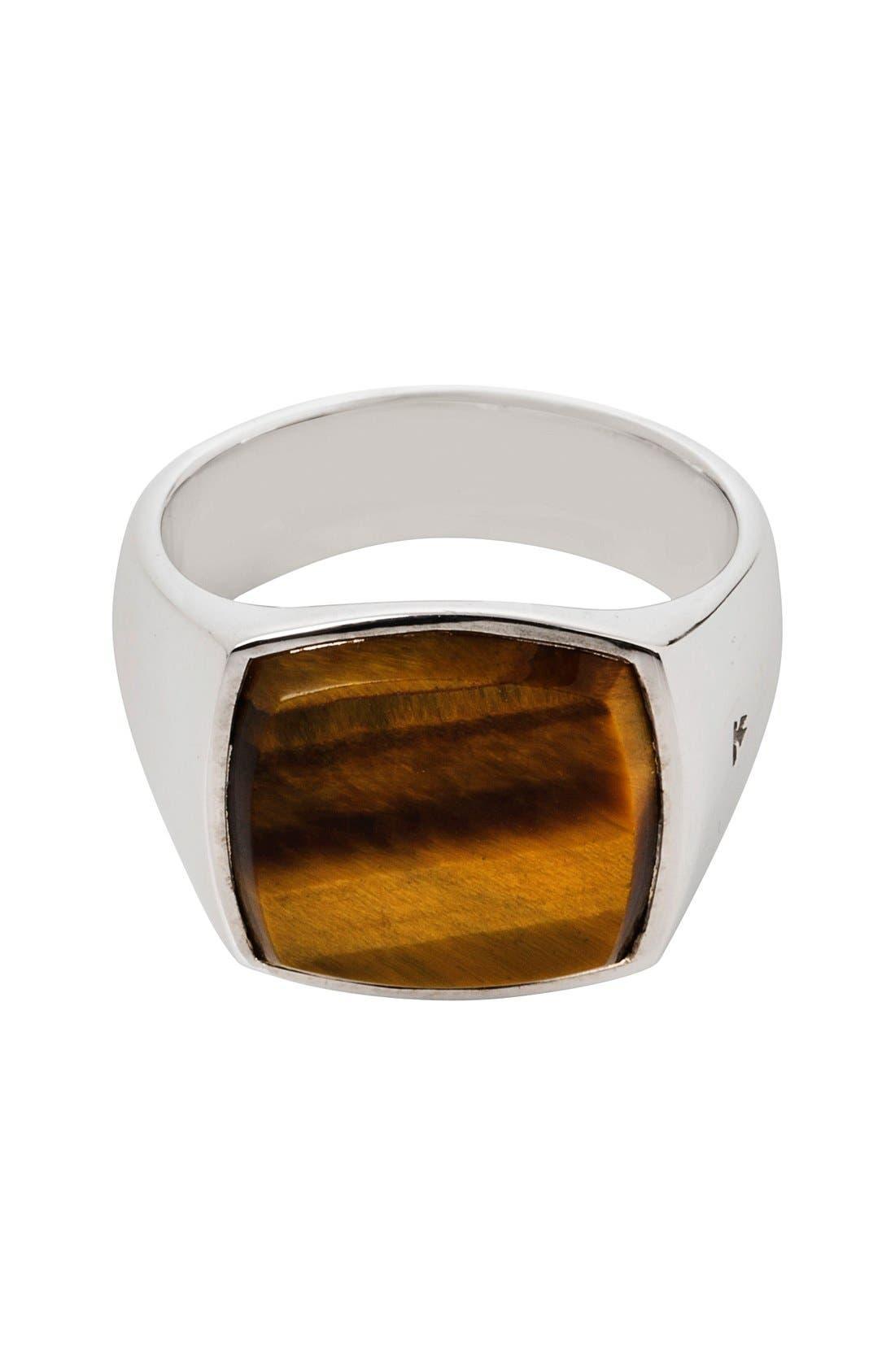 Cushion Tiger's Eye Signet Ring,                         Main,                         color, Silver