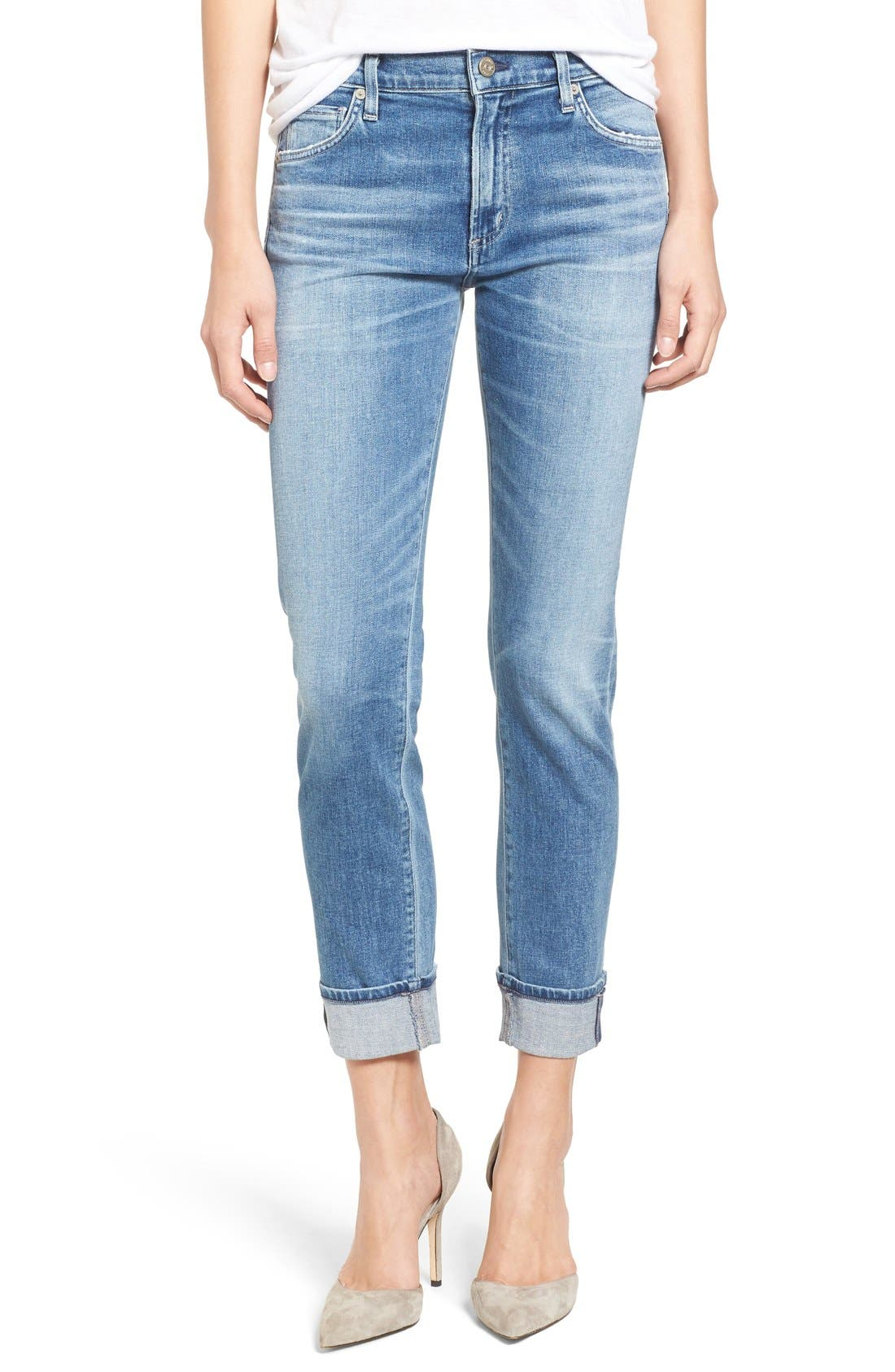 Jazmin Crop Straight Leg Jeans,                             Main thumbnail 1, color,                             Pacifica