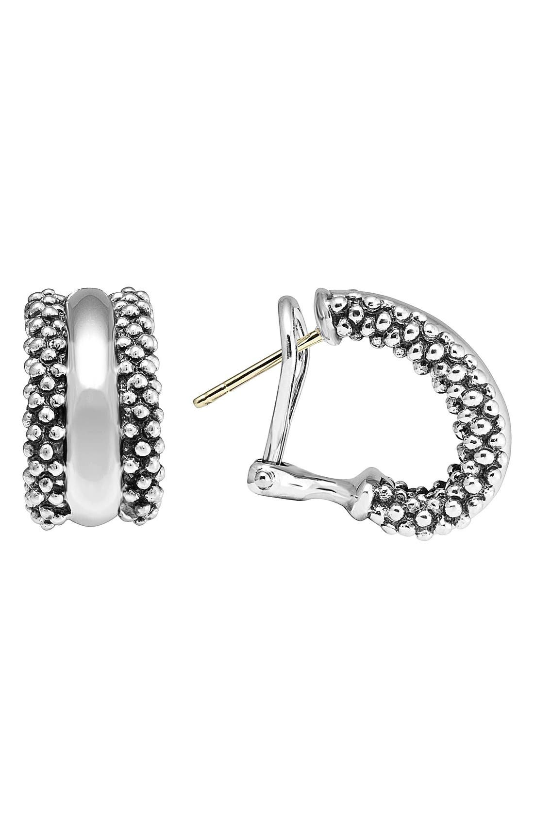 Caviar<sup>™</sup> Sterling Silver Hoop Earrings,                             Main thumbnail 1, color,                             Sterling Silver