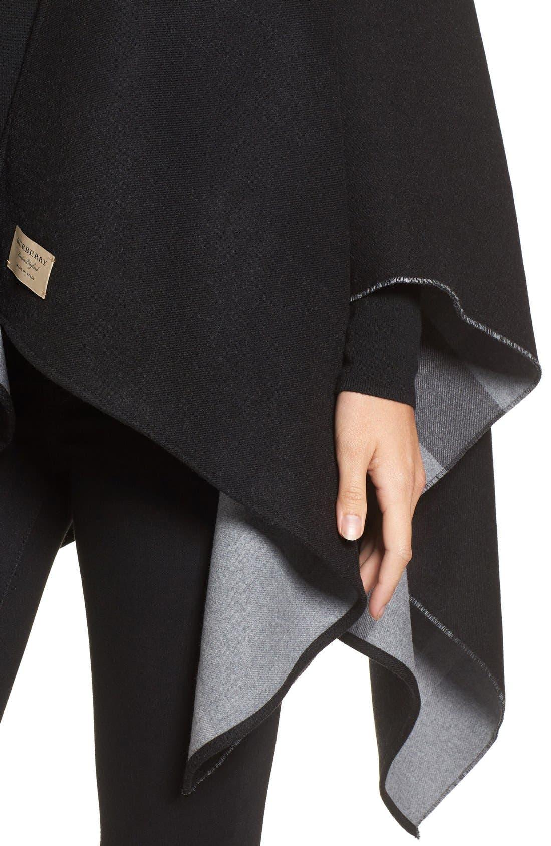 Reversible Merino Wool Cape,                             Alternate thumbnail 4, color,                             Charcoal