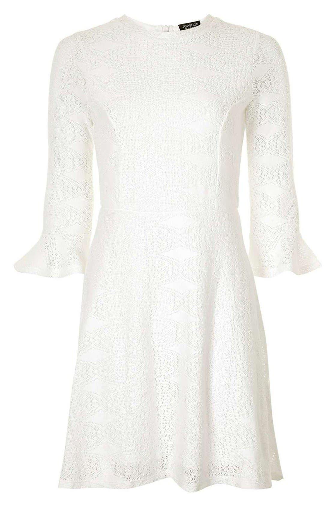 Alternate Image 4  - Topshop Flute Sleeve Crochet Dress