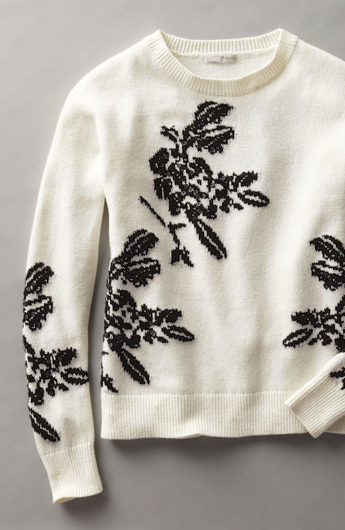 Alternate Image 6  - Halogen® Floral Intarsia Knit Sweater