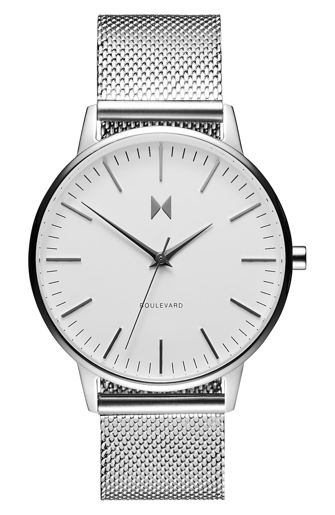 Boulevard Mesh Strap Watch, 38mm,                         Main,                         color, Silver/ White