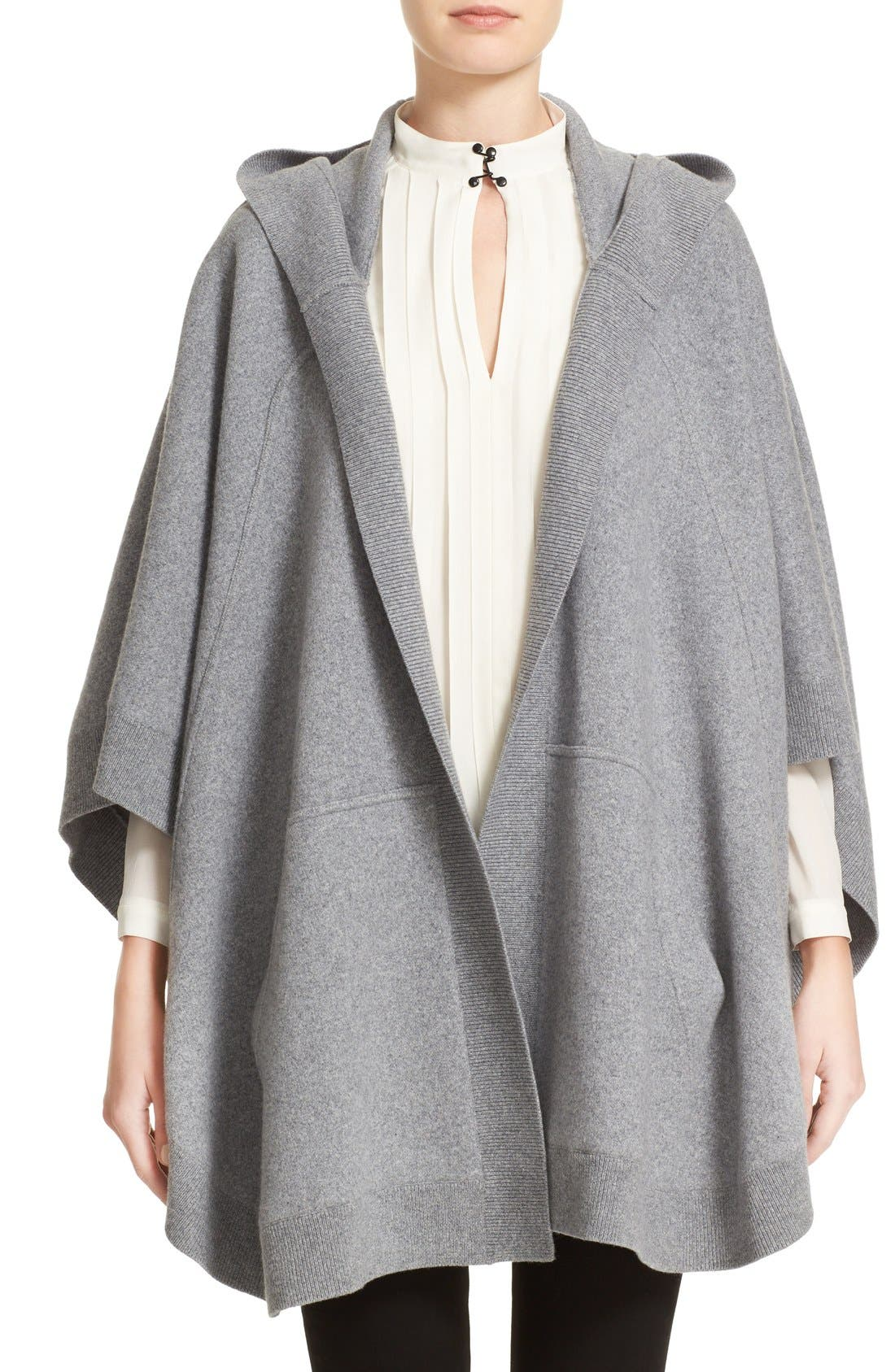 Main Image - Burberry Carla Hooded Knit Poncho