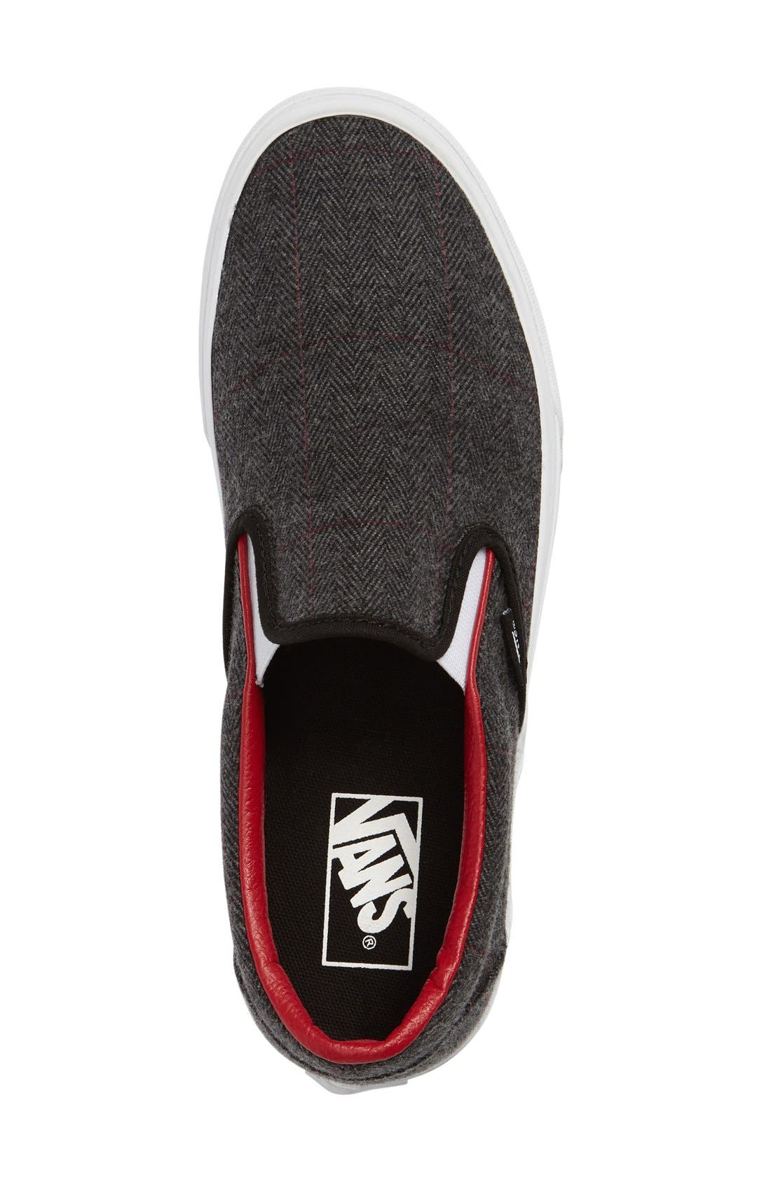 'Classic' Slip-On Sneaker,                             Alternate thumbnail 4, color,                             Black/ True White