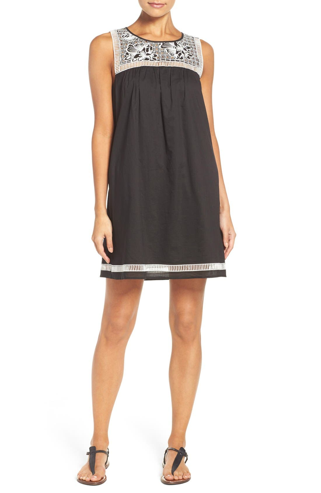 Main Image - Tory Burch Embroidered Yoke Cover-Up Dress