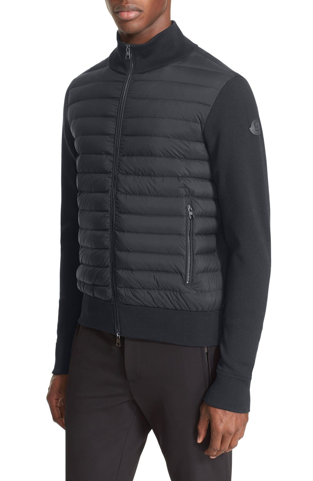 Mixed Media Quilted Jacket,                         Main,                         color, Black