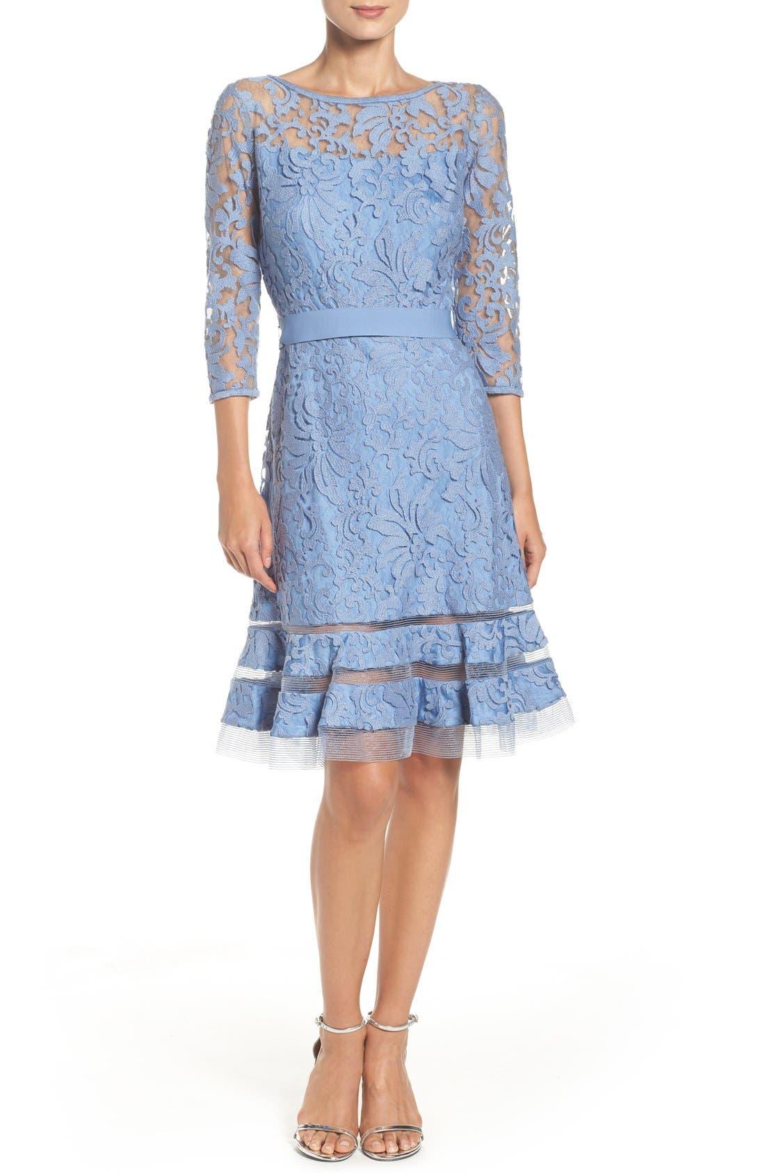 Lace Overlay Dress,                             Alternate thumbnail 4, color,                             Bluestone