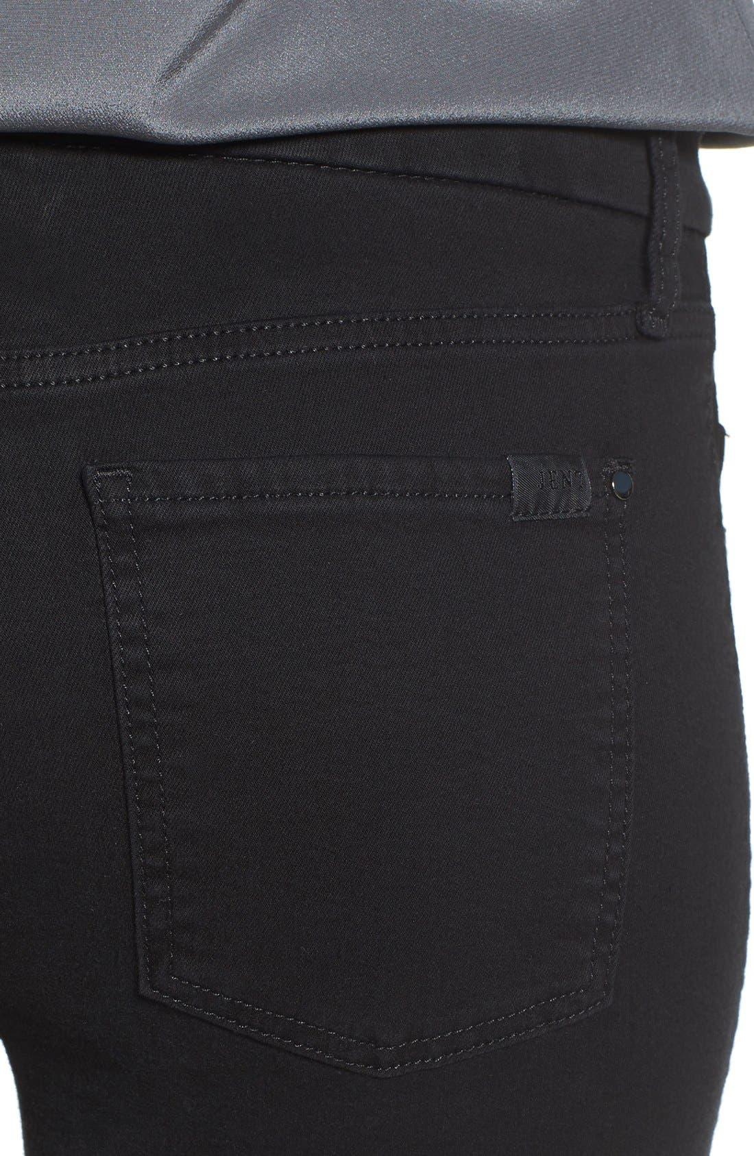 Tuxedo Stripe Skinny Jeans,                             Alternate thumbnail 4, color,                             Riche Touch Black Noir