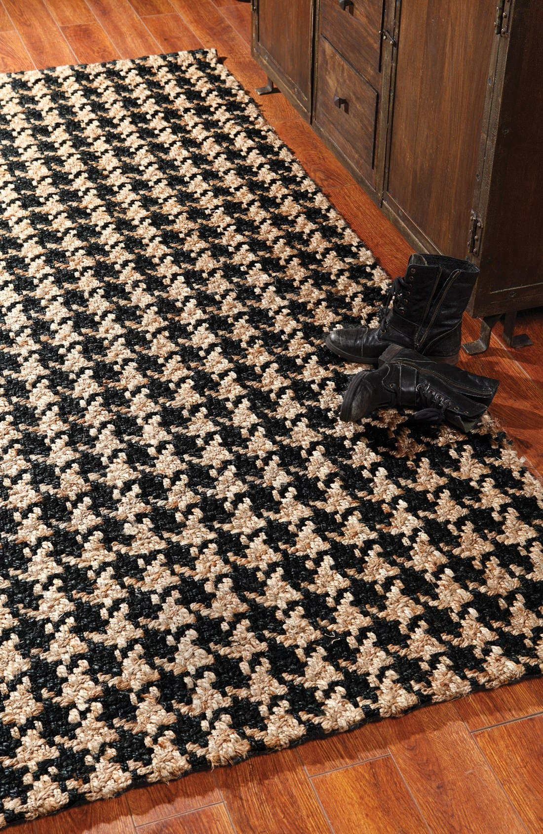 Houndstooth Rug,                             Alternate thumbnail 2, color,                             Black