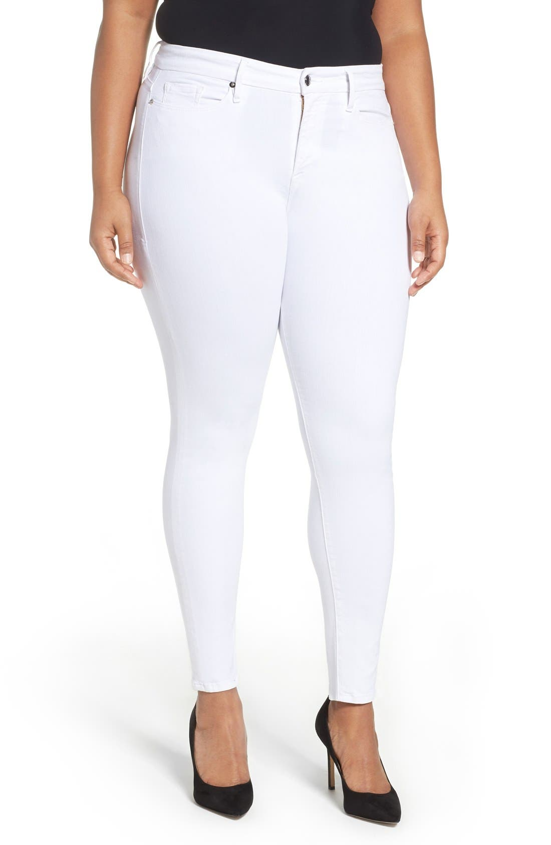 Alternate Image 6  - Good American Good Legs High Rise Skinny Jeans (White 001) (Extended Sizes)