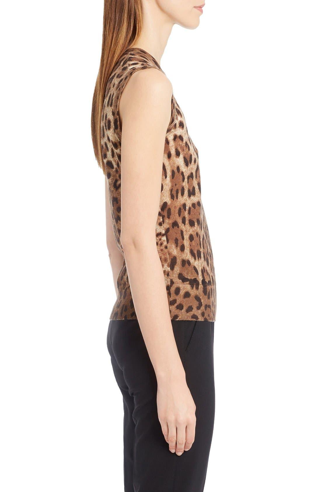 Alternate Image 4  - Dolce&Gabbana Leopard Print Silk & Cashmere Sweater