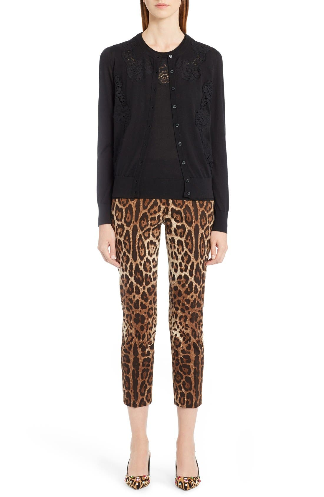 Leopard Print Ankle Pants,                             Alternate thumbnail 6, color,                             Leopard