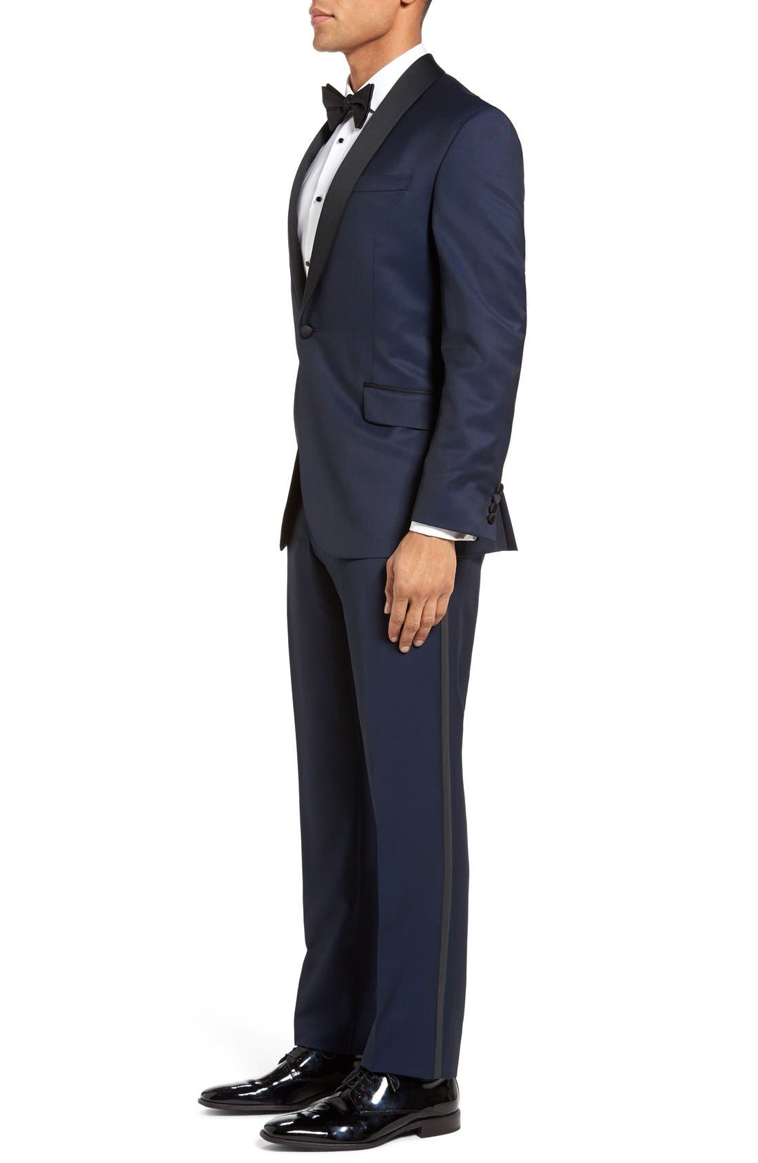 'Josh' Trim Fit Navy Shawl Lapel Tuxedo,                             Alternate thumbnail 3, color,                             Navy Blue