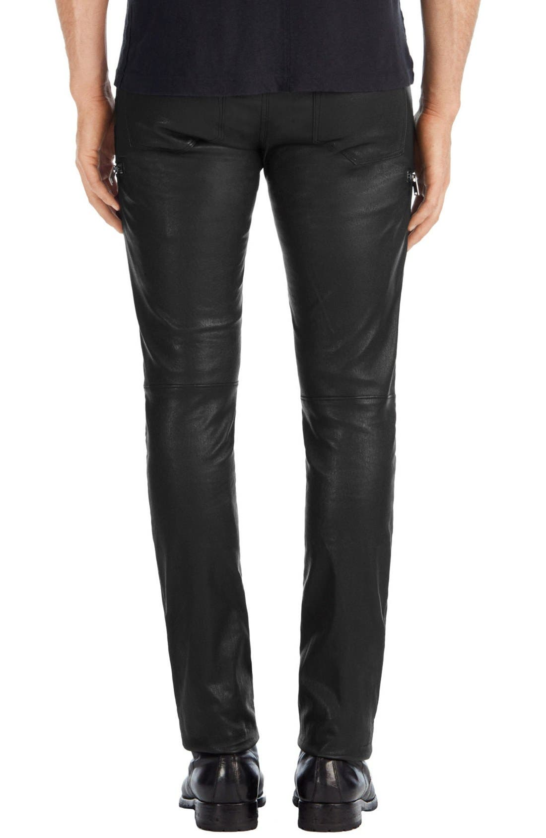 Acrux Skinny Fit Moto Leather Pants,                             Alternate thumbnail 2, color,                             Black