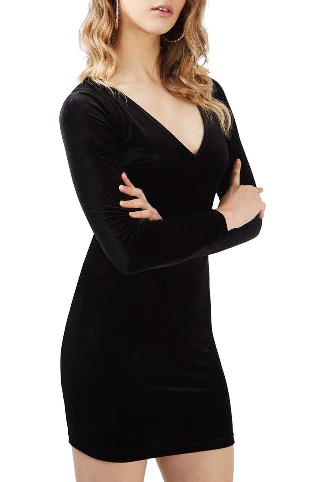 Alternate Image 1 Selected - Topshop Lace-Up Velvet Body-Con Dress