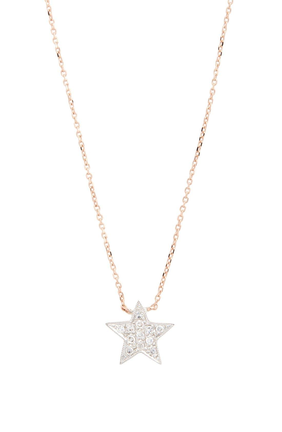 'Julianne Himiko' Diamond Star Pendant Necklace,                             Alternate thumbnail 3, color,                             Rose Gold/ White Gold