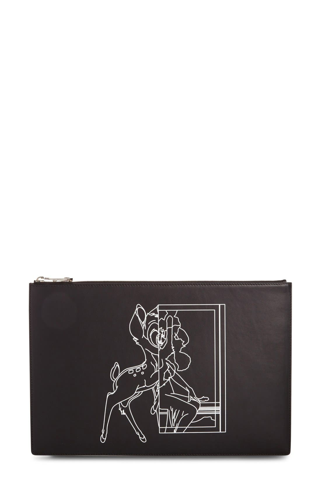 Bambi<sup>™</sup> Print Leather Pouch,                         Main,                         color, Black