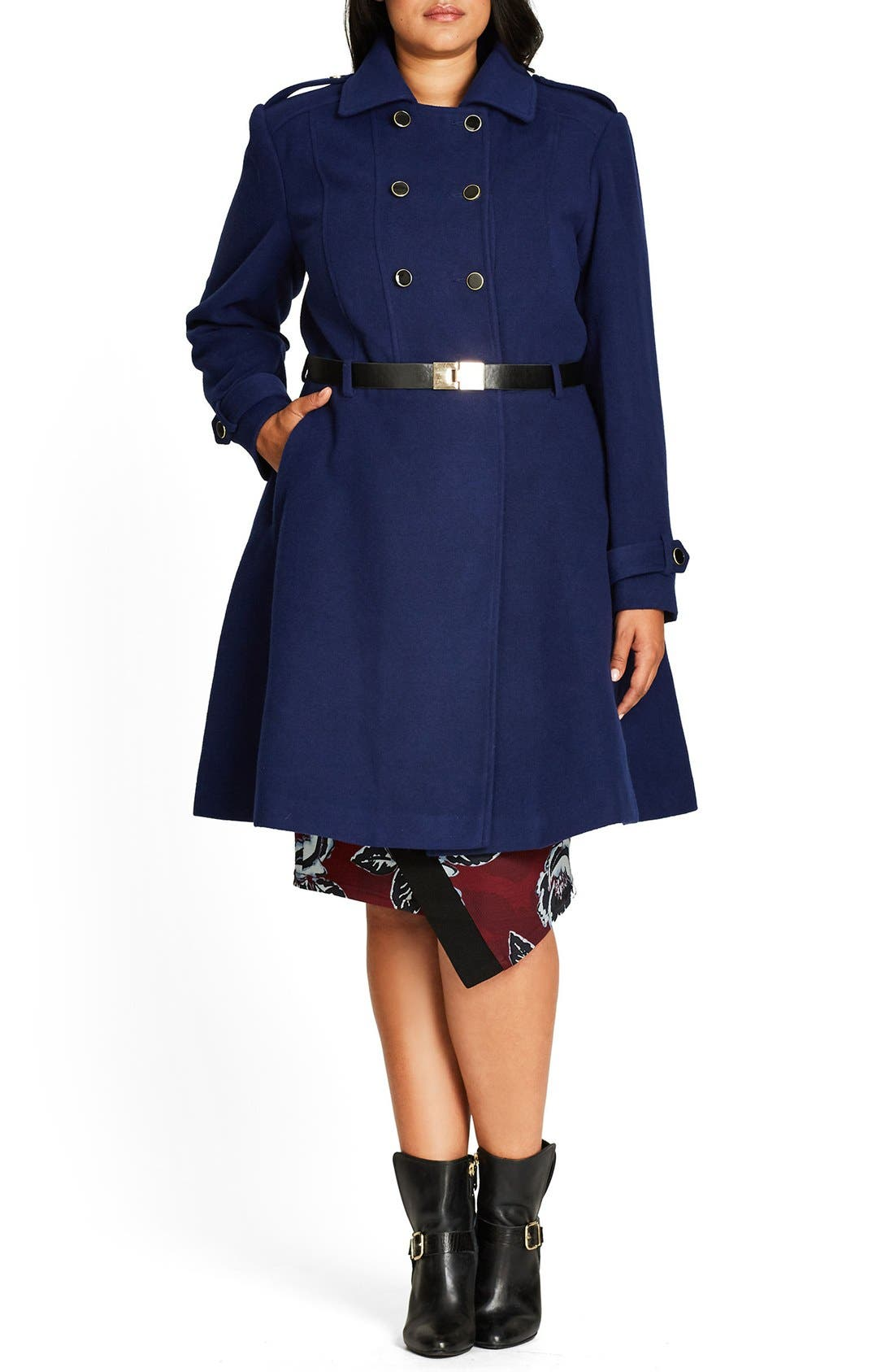 Alternate Image 2  - City Chic Double Agent Belted Coat