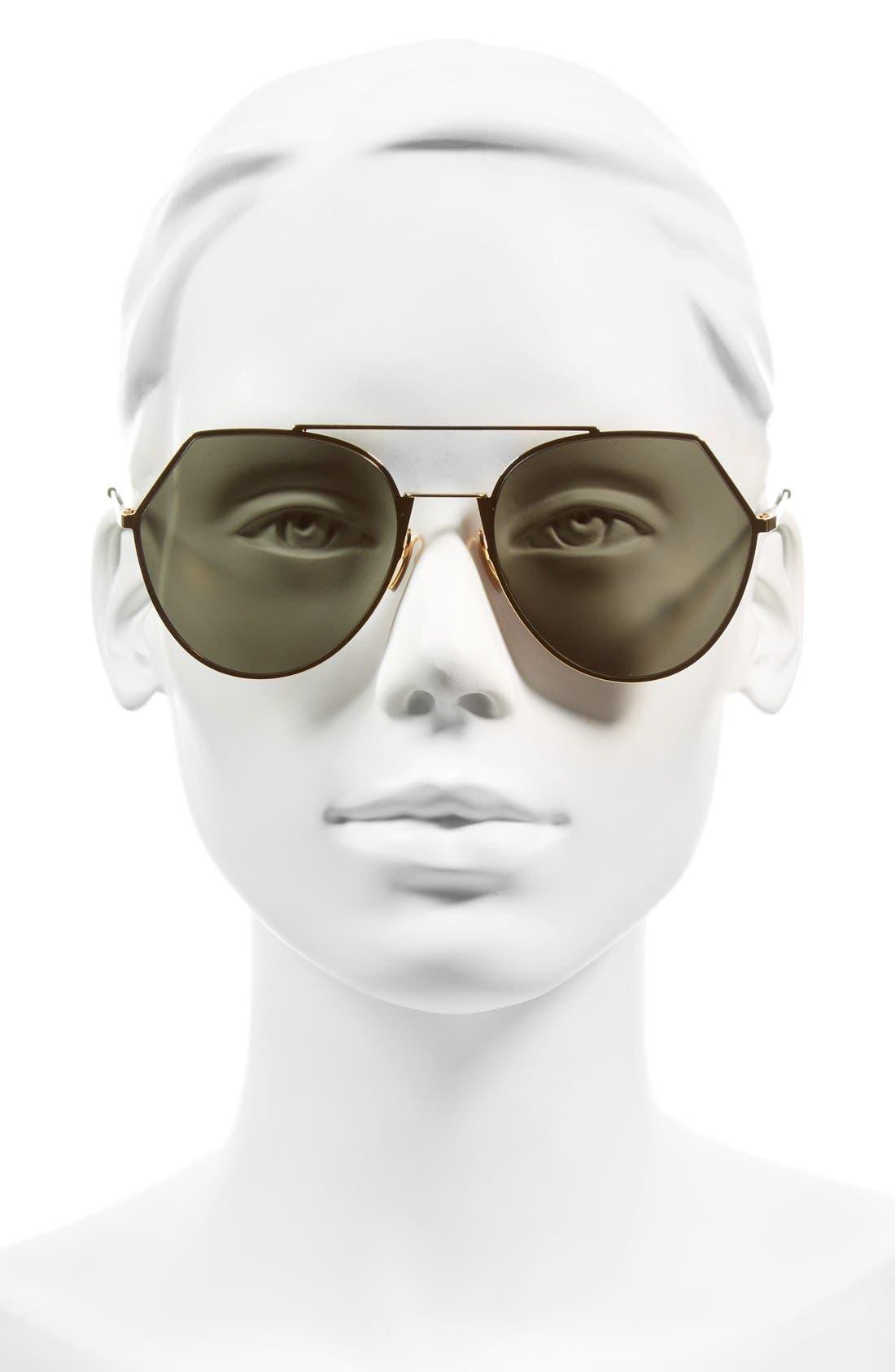 Eyeline 55mm Sunglasses,                             Alternate thumbnail 2, color,                             Yellow Gold