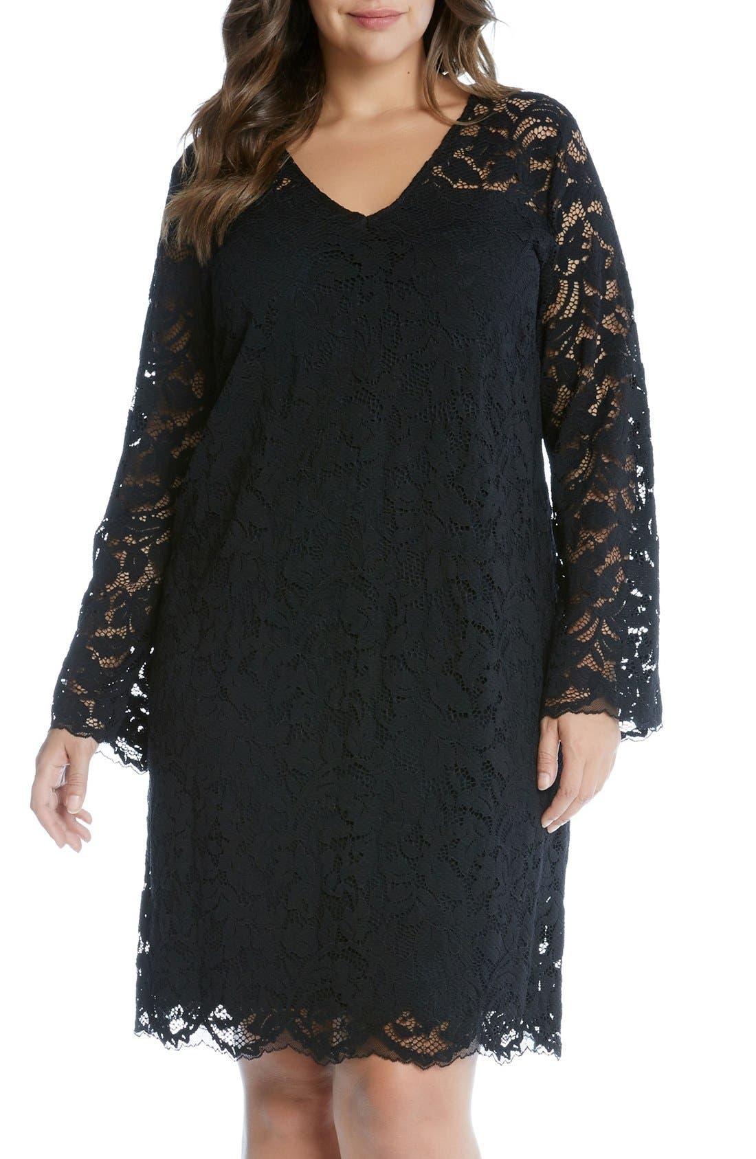 Main Image - Karen Kane Lace A-Line Dress (Plus Size)