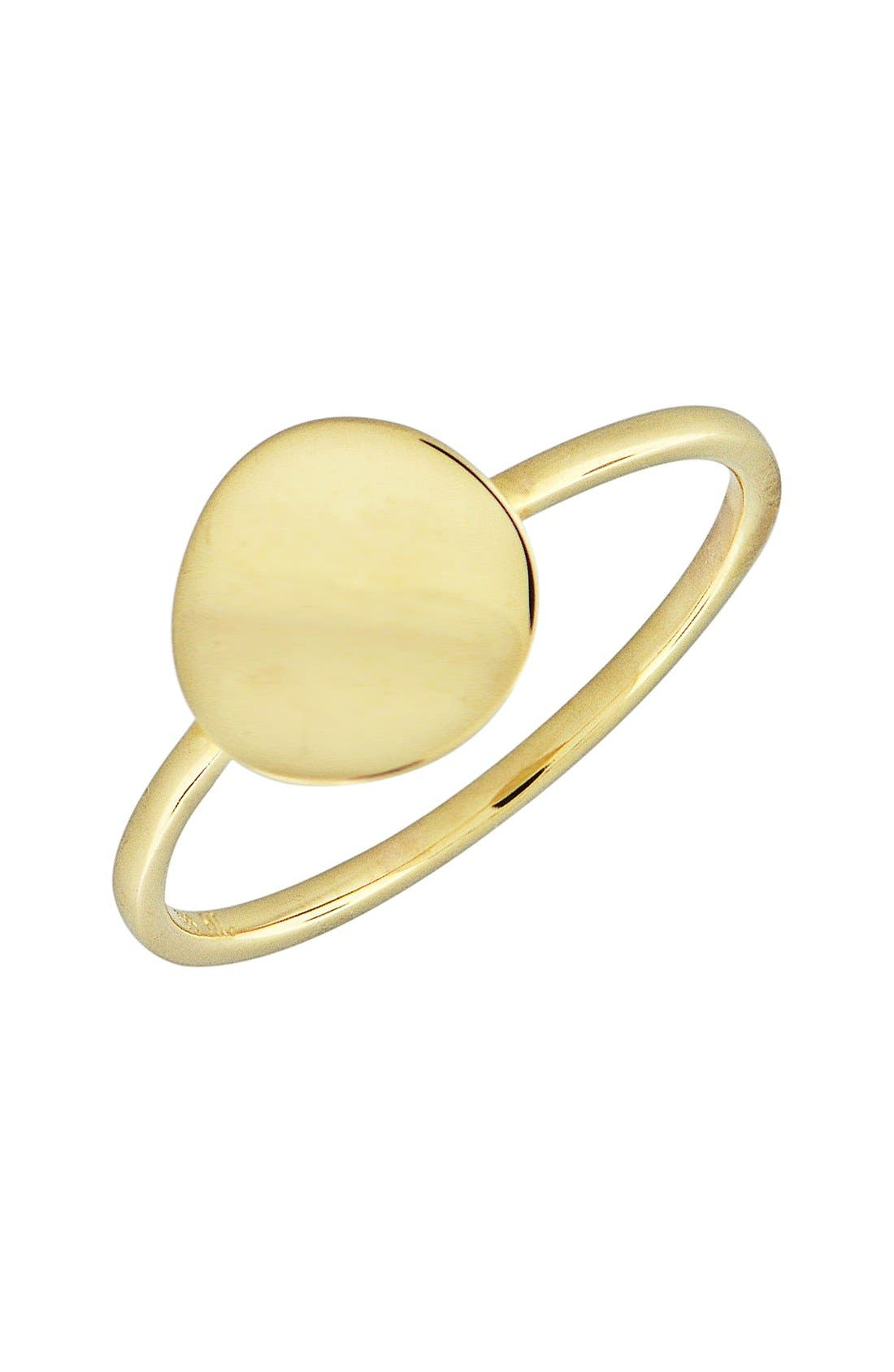 14k Gold Concave Disc Ring,                         Main,                         color, Yellow Gold