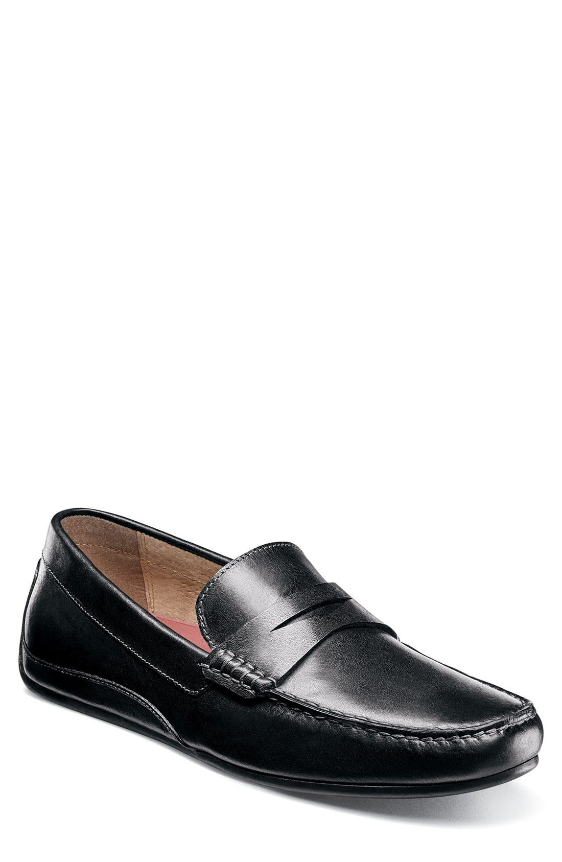Oval Driving Shoe,                             Main thumbnail 1, color,                             Black Leather