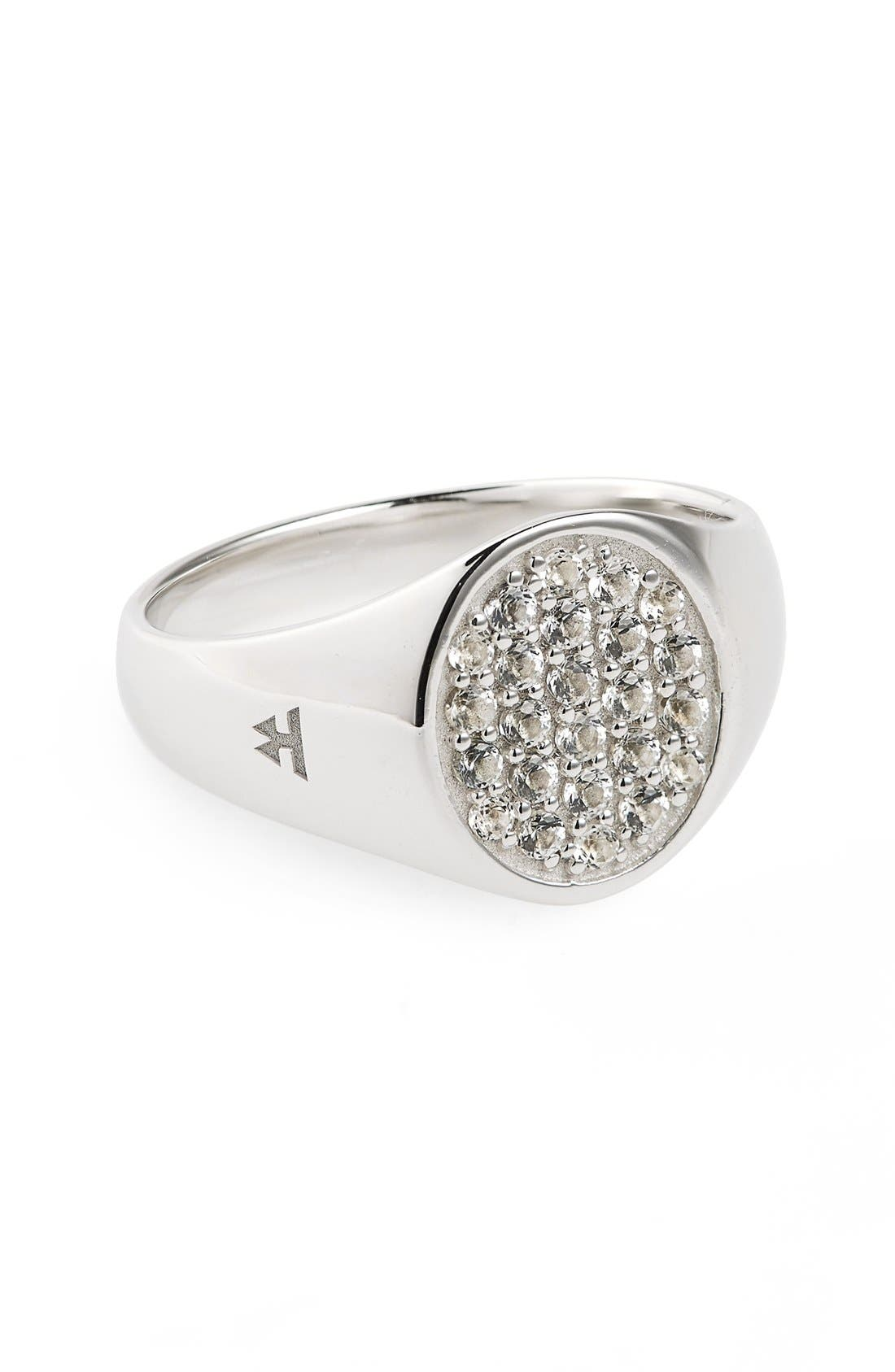 Tom Wood Mini Oval White Topaz Signet Ring