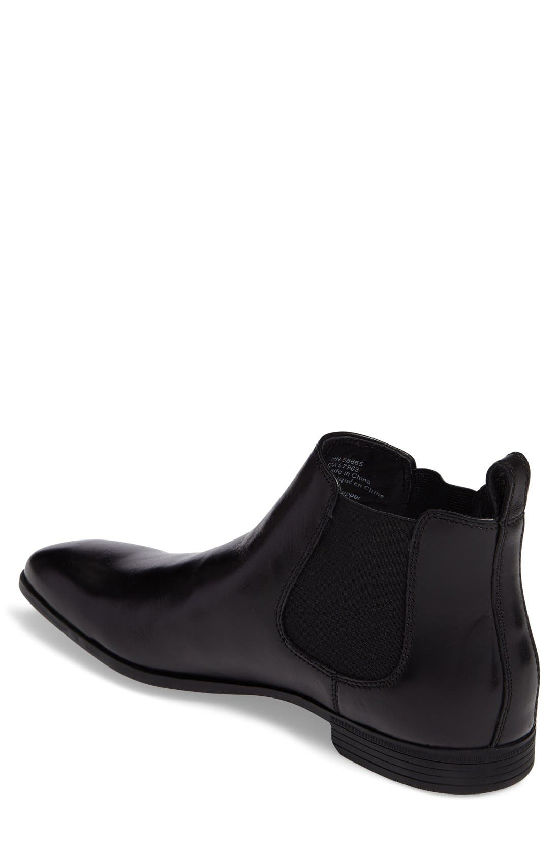 'Huntley' Chelsea Boot,                             Alternate thumbnail 2, color,                             Black Leather