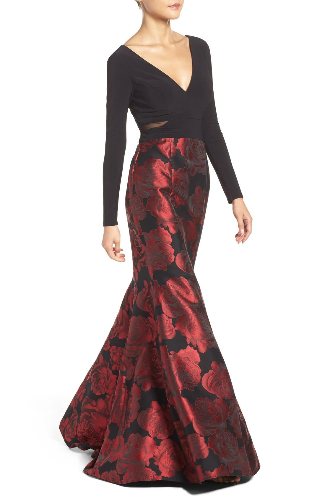 Brocade Mermaid Gown,                             Alternate thumbnail 3, color,                             Black/ Red