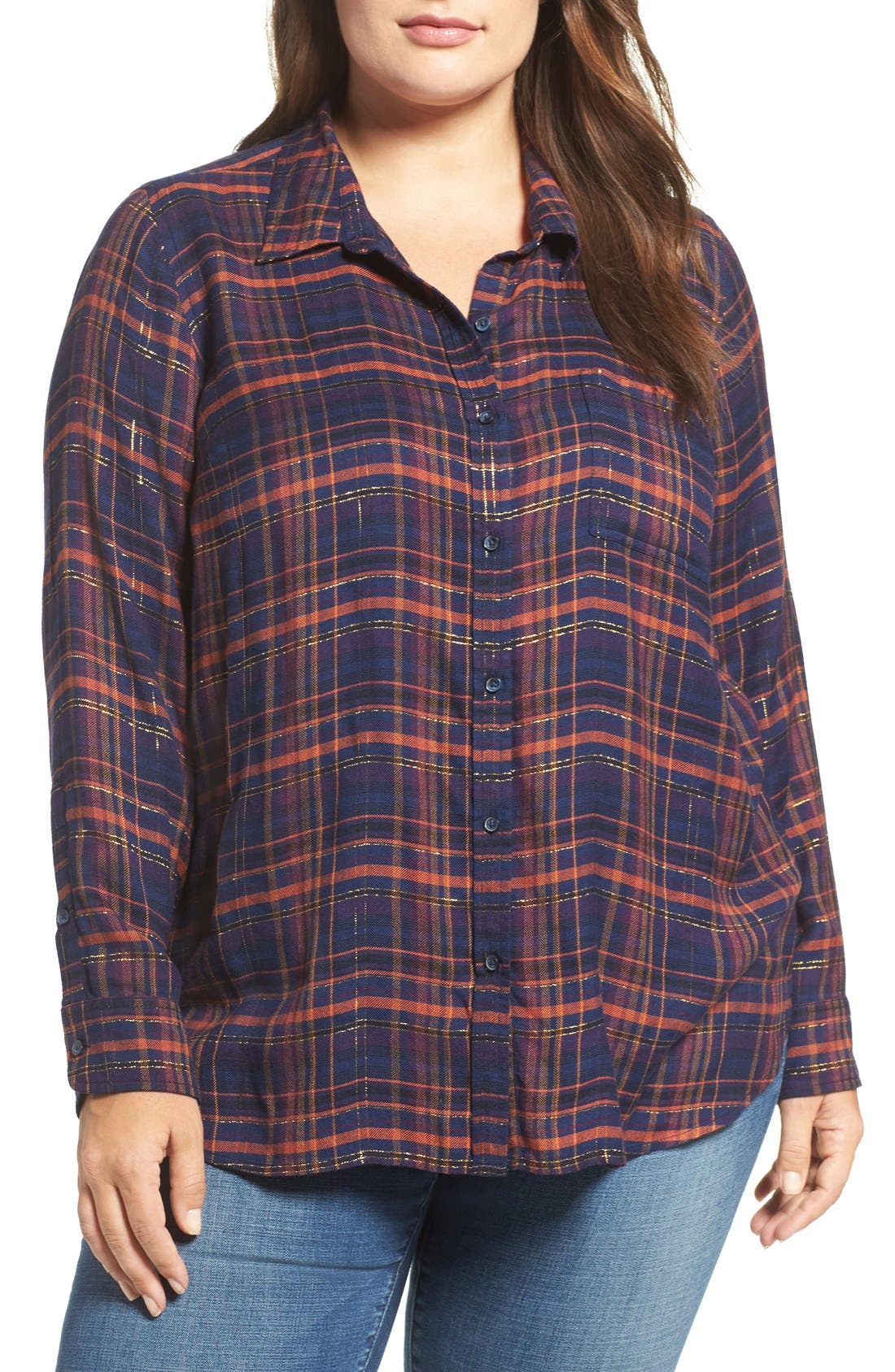 Back Overlay Plaid Shirt,                         Main,                         color, Blue Multi