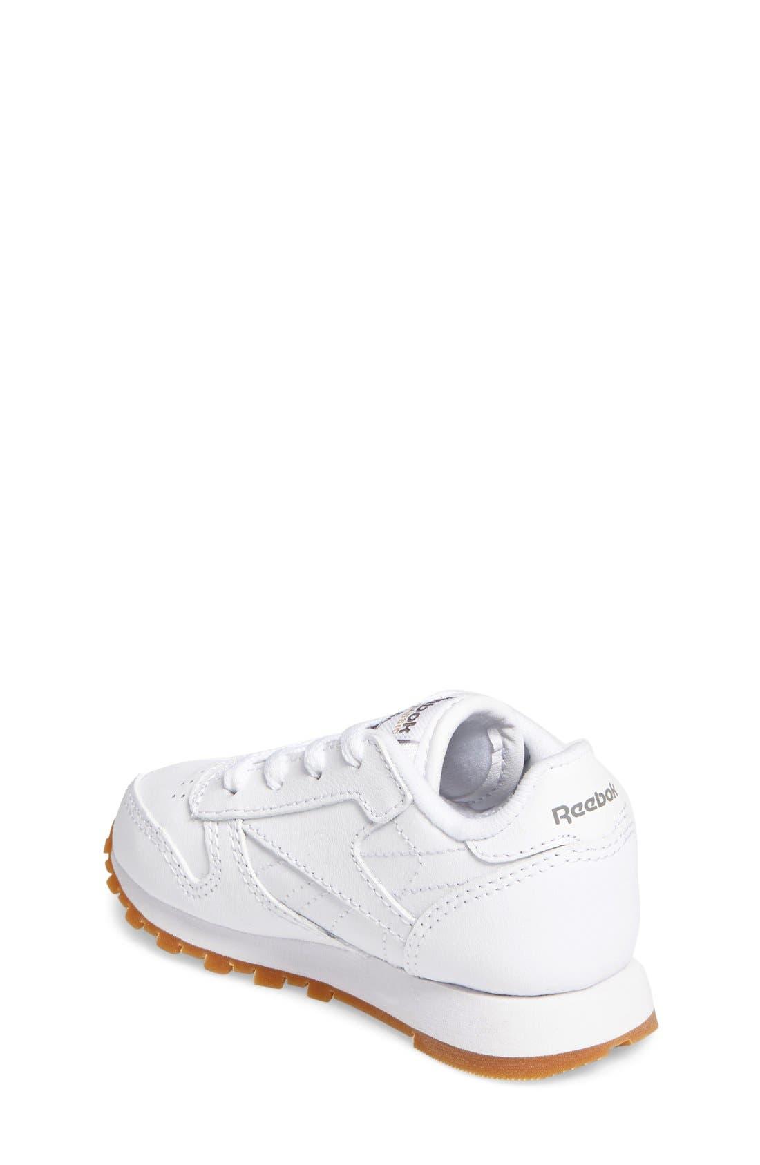 Classic Leather Sneaker,                             Alternate thumbnail 2, color,                             White/ Gum
