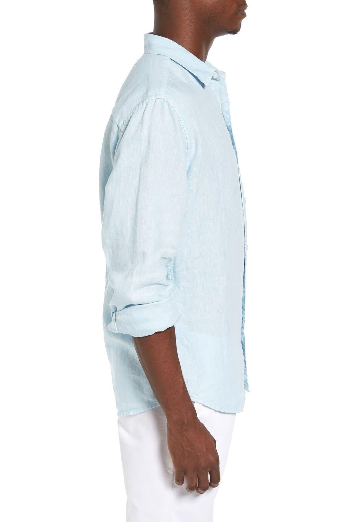 Alternate Image 3  - Original Paperbacks Nice Trim Fit Linen Sport Shirt