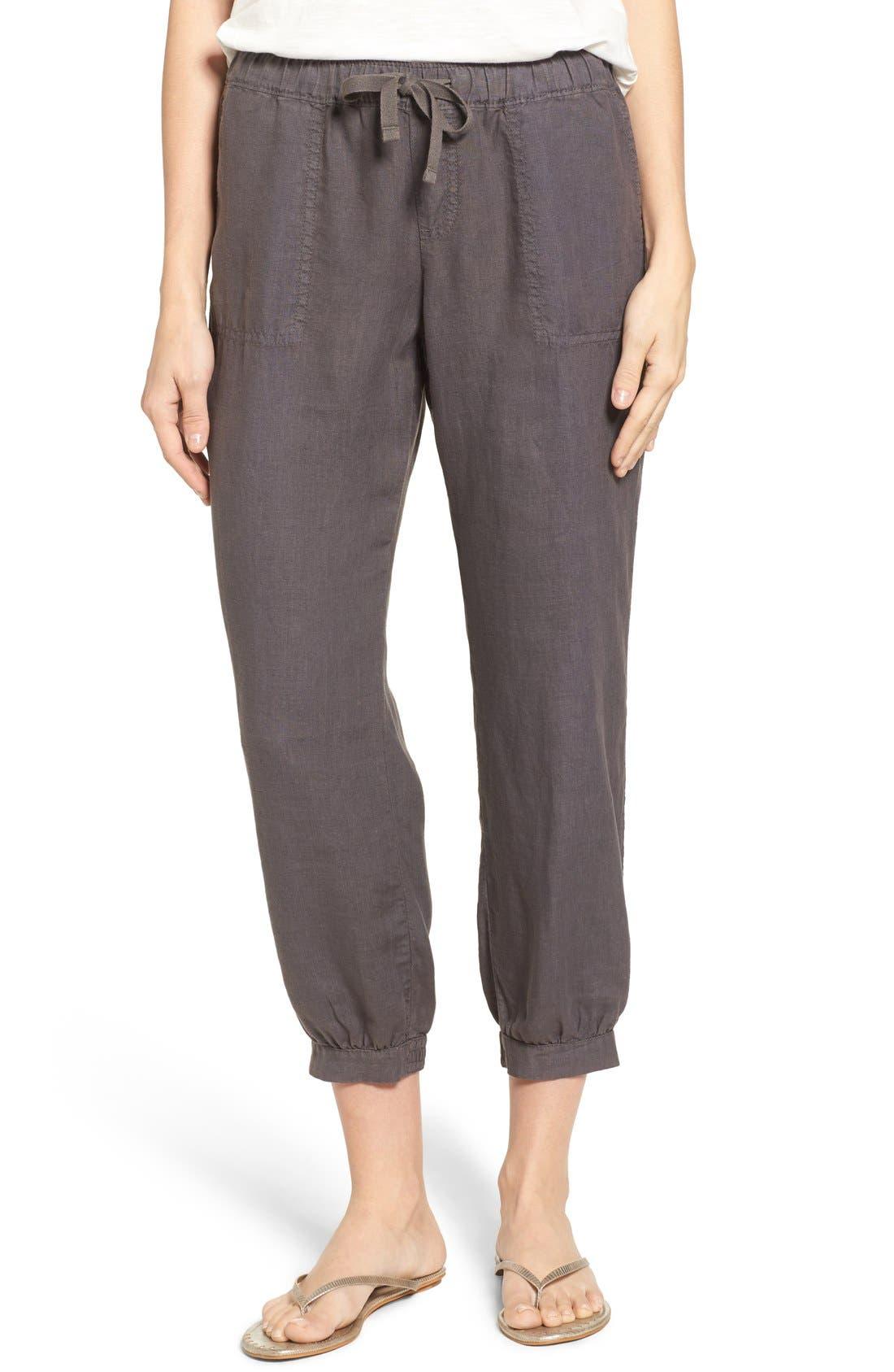 Crop Linen Joggers,                             Main thumbnail 1, color,                             Grey Ebony