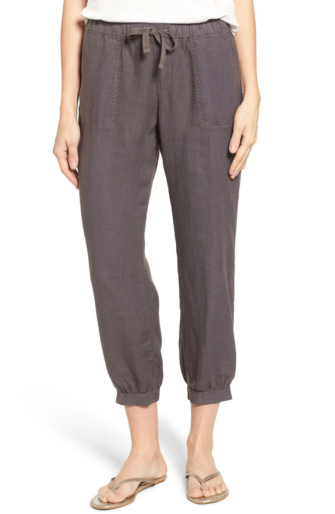 Crop Linen Joggers,                         Main,                         color, Grey Ebony