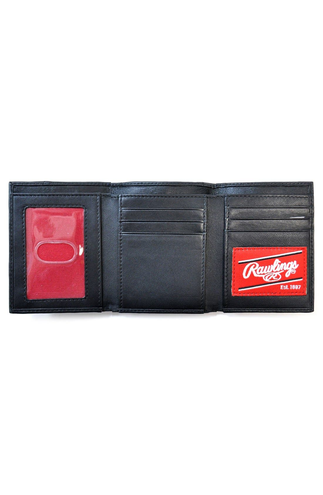Baseball Stitch Leather Trifold Wallet,                             Alternate thumbnail 2, color,                             Black