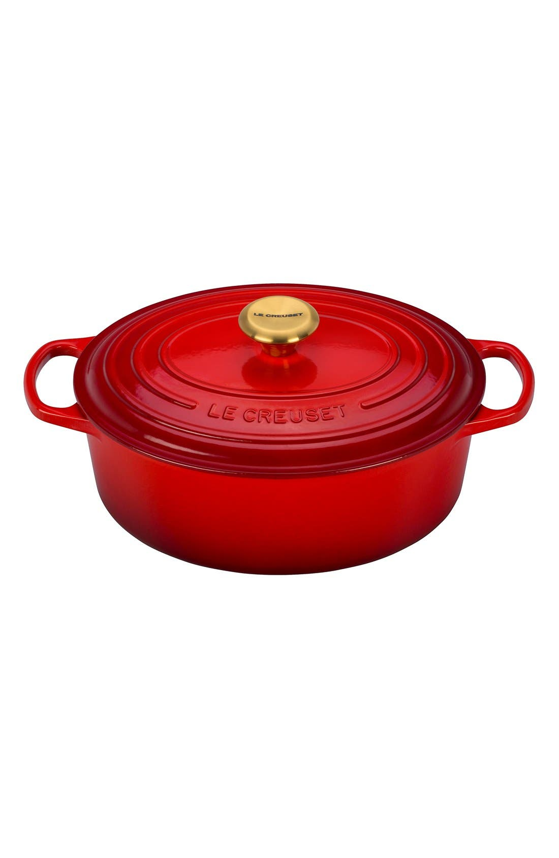 Gold Knob Collection 5 Quart Oval French/Dutch Oven,                             Main thumbnail 1, color,                             Cherry/Cerise Gold