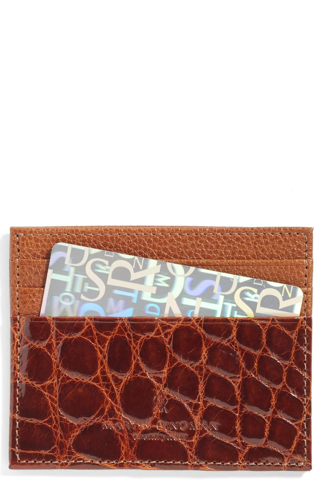Executive Leather Card Case,                             Main thumbnail 1, color,                             Chestnut