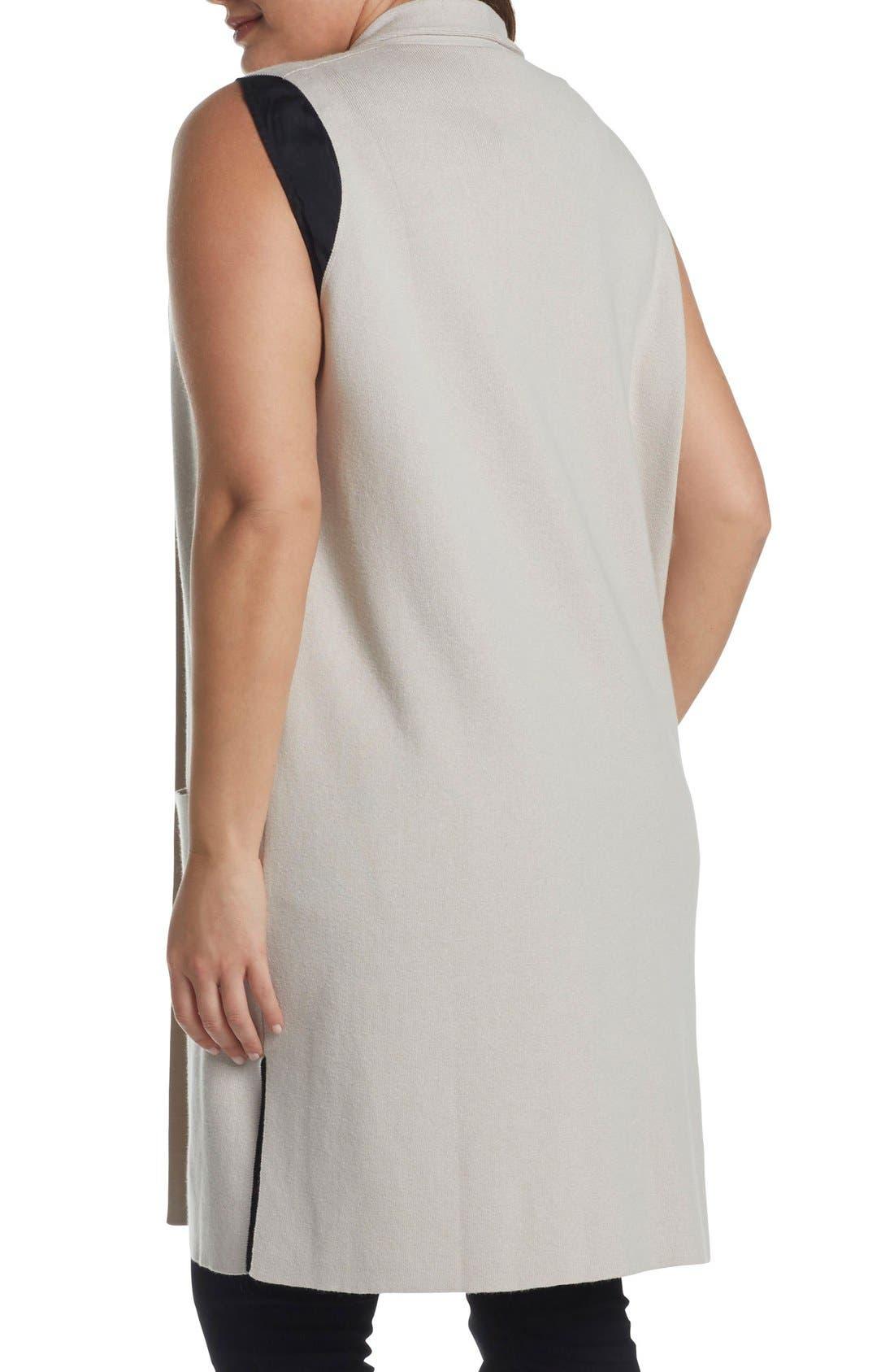 Melva Cotton & Cashmere Open Front Sweater Vest,                             Alternate thumbnail 2, color,                             Light Tan