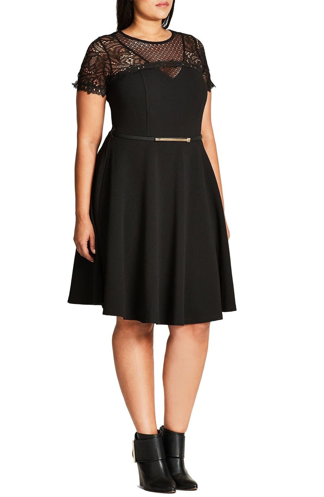 Lace Fever Dress,                             Alternate thumbnail 3, color,                             Black