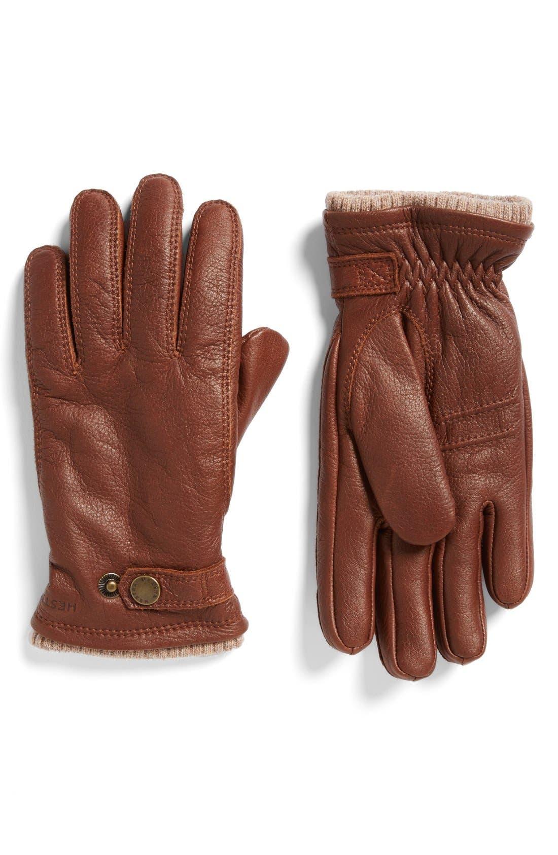 Utsjo Leather Gloves,                             Main thumbnail 1, color,                             Chestnut